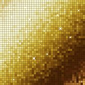 Golden like mosaic flickering square background.