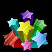 Multicolor 3D star burst on black background with copy space.