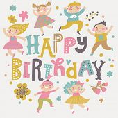 Happy birthday background. Group of children playing. Six funny kids in cartoon style. Bright childish holiday card in vector. Cute kids jumping and having fun