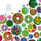 Multicolor abstract bright background with ornamental circles. Elements for design. Eps10.