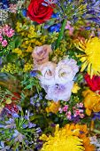 Colorful vivid background texture of a wide assortment of summer flowers in a large bouquet in verti