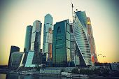 Moscow-city (moscow International Business Center) At Evening