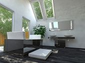 Beautiful Black and White Interior Design Bathroom Area with Bathtub