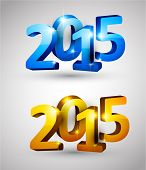 3d text 2015 happy new year design. Vector illustration.