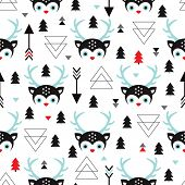 Seamless kids geometric reindeer and christmas trees winter theme illustration background pattern in