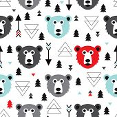 Seamless kids geometric grizzly bear and christmas trees winter theme illustration background patter