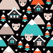 Seamless polar bear christmas trees and snow flake winter wonderland illustration background pattern