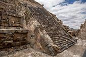 Statue Decorated Aztec Pyramid