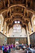 HAMPTON COURT, UK - AUGUST 03, 2014 - Roof of the Tudor Great Hall at Hampton Court Palace on August