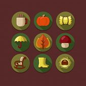 Flat icon set in autumn style
