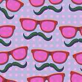 Nerd pink glasses.Seamless vector Illustration