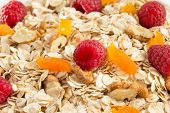 cereals muesli and berry as background