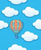 Air baloon and clouds seamless