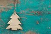 Handmade Christmas Tree For A Wooden Green Or Turquoise Background