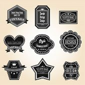 Silhouette Vintage And Retro Badges Design With Sample Text (vector)