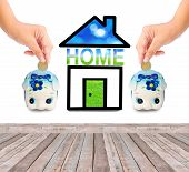 Money Saving With  Piggy Bank And Home Icon