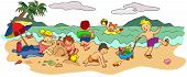 picture of one piece swimsuit  - Group of children playing on the beach in summer holiday create by vector - JPG