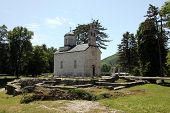 CETINJE, MONTENEGRO - JUNE 09, 2012: Orthodox court church built 1450 in Cetinje, the old capital of