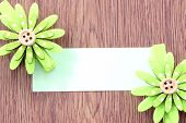 Hairpins Of Green Flower Pattern And Note Paper.