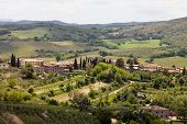 view from lookout in San Gimignano in Italy in Toscany of the countyside