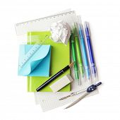 Back to school supplies. Isolated on white background