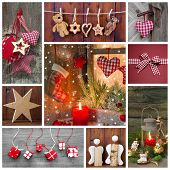 Classic Christmas Decoration In Red Checked And Green With Candle For Greetings