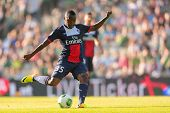 VIENNA, AUSTRIA - JULY 12 Hervin Ongenda (#35 Paris) kicks the ball at a friendly soccer game on Jul