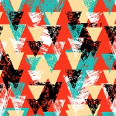 picture of harlequin  - Grunge hand painted abstract pattern with bold textured triangles in bright multiple colors - JPG