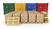 stock photo of wooden pallet  - Cardboard with stacked boxes on wooden pallet - JPG