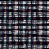 picture of cross-hatch  - Vintage striped seamless pattern with crossing brushed lines and small random colorful dots on dark background - JPG