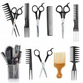 Professional hairdresser tools isolated on white