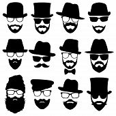 picture of bowler hat  - twelve vector men face with mustache and beard - JPG