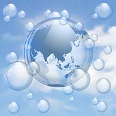 Sky and bubbles background