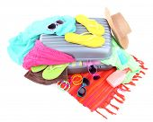 Suitcase with things for travelling somewhere close to water for spending summer vacation isolated o