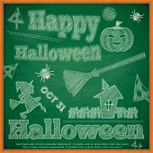 Halloween Card On Green Chalkboard