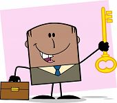 African American Businessman With Briefcase Holding A Golden Key Cartoon Character On Background