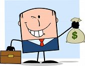 Winking Businessman With Briefcase Holding A Money Bag Character On Background
