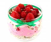 Healthy breakfast - yogurt with  strawberries and muesli served in glass jar, isolated on white