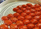 Sticky red rice custard