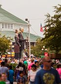 Crowd And American Gothic Sculpture At Iowa State Fair