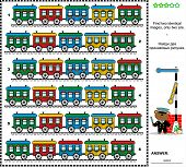 Visual riddle - find two identical trains