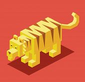 yellow tiger. 3d pixelate isometric vector