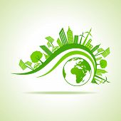 Ecology Concept - eco cityscape with earth