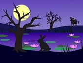 picture of moonlight  - A hare and a cow by a pond in the moonlight - JPG