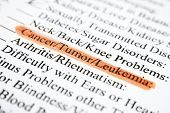 stock photo of leukemia  - Close up of health history form underlined cancer tumor leukemia