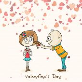 Cute boy cartoon offering chocolate to his beloved on hearts decorated background on occasion of Happy Valentines Day.