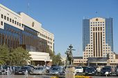 Square next to the Astana city building, Astana, Kazakhstan.