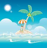 Sunbathing on the sandy island