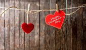 Red Hearts With Clothespin Hanging On Clothesline