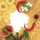 Mediterranean food ingredients with italian pasta selection forming an abstract border over white background.